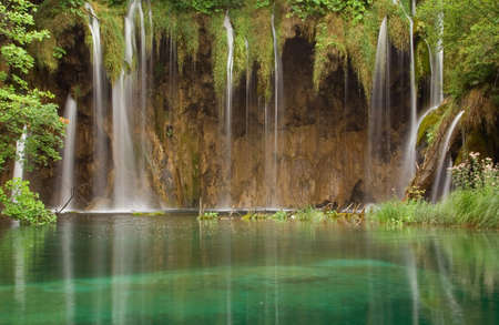 Beautiful waterfall at Plitvice Lakes National Park , UNESCO World Heritage Center