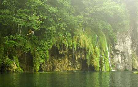 Beautiful waterfall on a foggy day at Plitvice Lakes National Park , UNESCO World Heritage Center Stock Photo - 3913717