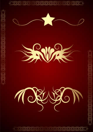 Editable golden graphic design elements on dark red background. Easy to change colors. Stock Photo - 5002793