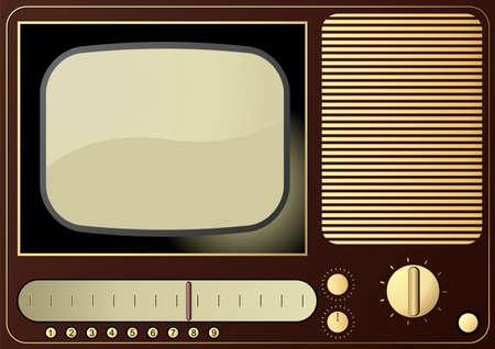 Editable background - retro radio and TV photo