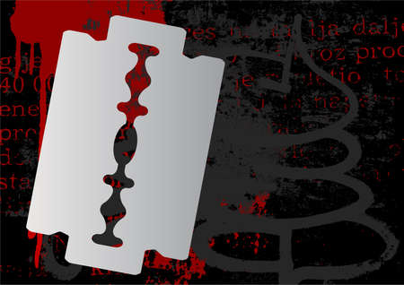 Razor blade, grunge background with space for your text. photo
