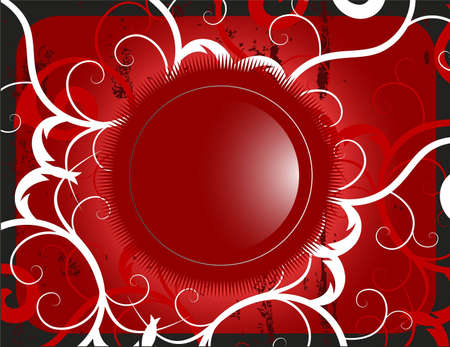 illustration of a red glossy button on stylish background Stock Illustration - 5002654