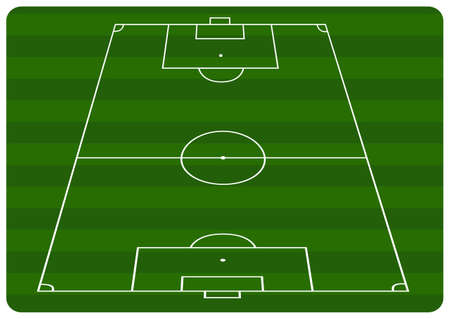 ballsport: Illustration of a football pitch with green stripes