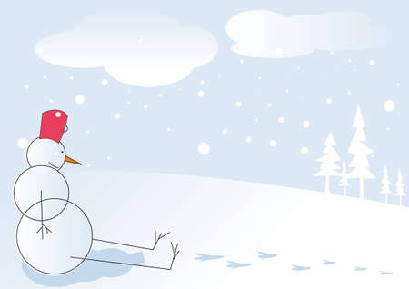 Snowman relaxing after long day Stock Photo - 5002968