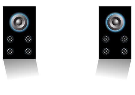 Editable background - Two loudspeakers on white background Stock Vector - 7315768