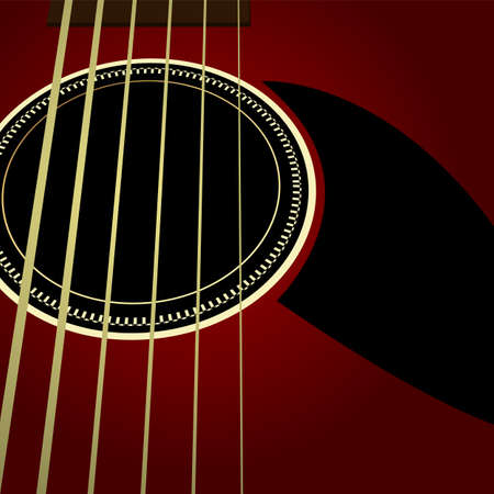 chord: Editable background - Dark acoustic guitar close up Illustration
