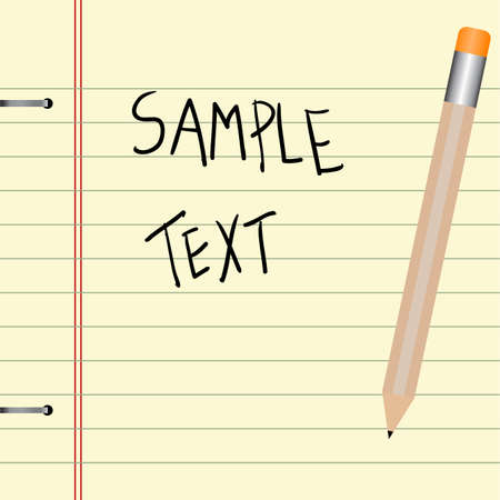 yellow notebook: Editable background - old yellow notebook and pencil with space for your text