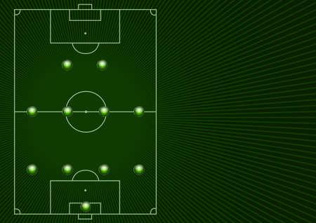 Ilustración de una cancha de fútbol con 4-4-2 formación de jugadores y el espacio para el texto  Foto de archivo - 7316367