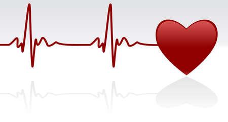 puls: Editable tła - serca i pulsu symbolu na powierzchni odbijającej