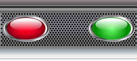 Editable glossy web buttons with metallic edge on metallic background Vector