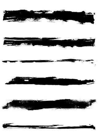 Un ensemble de traits de pinceau grunge (objets individuels). Éléments de grunge agréable pour vos projets.  Vecteurs