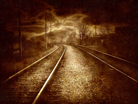 artistic designed: Computer designed highly detailed retro style grunge collage - Old railroad