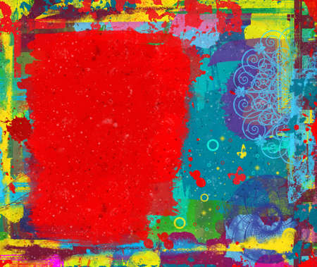 Grunge colorful abstract digital painting with space for your text Stock Photo - 7329593