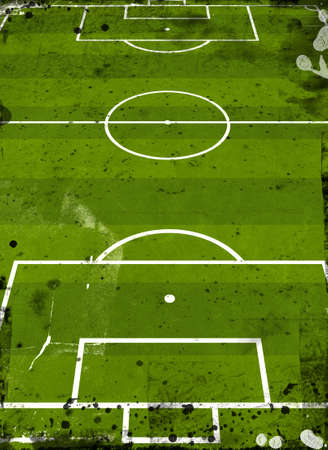 Grunge style illustration of a football pitch illustration