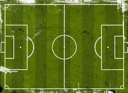 Grunge style illustration of a football pitch illustration