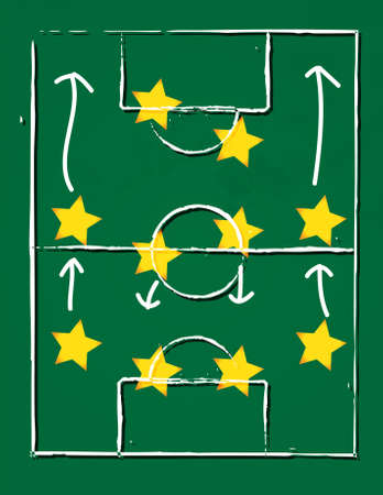 illustration of a football pitch  with 4-4-2 player formation  Vector