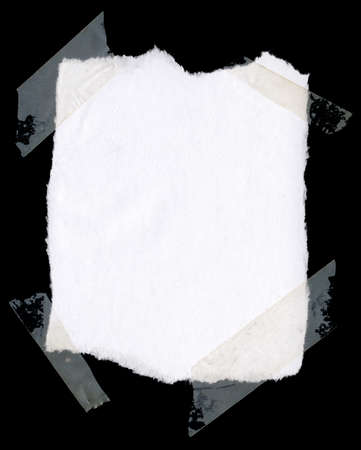 White paper taped on black background , nice grunge border for your images