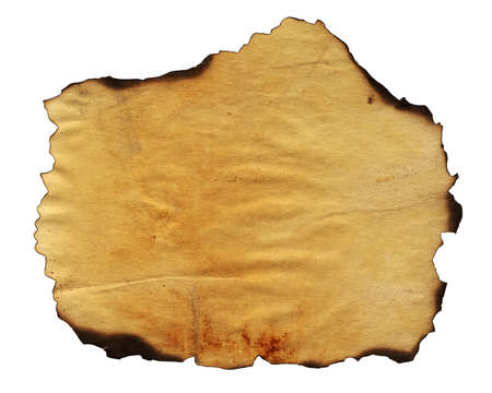 Highly detailed textured antique paper with burned edges studio isolated on white . Great grunge background for your projects. More images like this in my portfolio Stock Photo