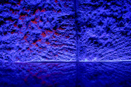 Reflective shelf on a stone wall in a night bar illuminated by neon lights. Nice bacground for your products or objects. Stock Photo - 8017491