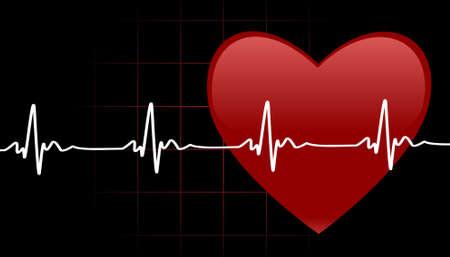 battement du coeur: Arri�re-plan modifiable avec espace pour votre texte - symbole de coeur et de pulsation