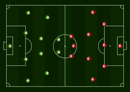 ballsport: Illustration of a football pitch with   players formation and space for your text