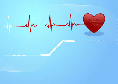 Editable background with space for your text - heart and heartbeat symbol Stock Photo - 8024272