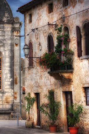 mediterranean house: Old Mediterranean stone house , soft focus photo