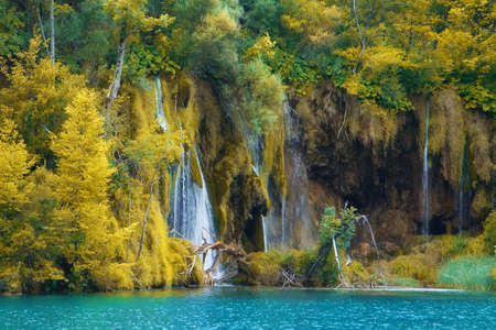 Beautiful waterfalls at Plitvice Lakes National Park , UNESCO World Heritage Center  Stock Photo