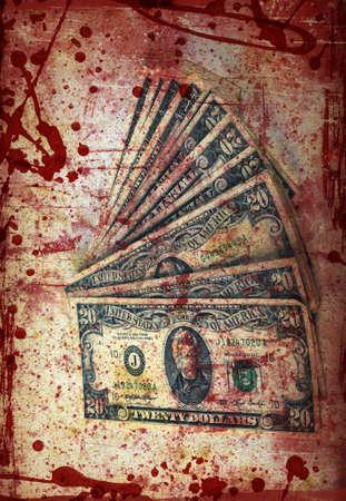 pandilleros: Blood money, EE.UU. Dólar, foto artística procesada y tonificado Foto de archivo