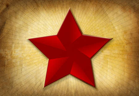 Communist: Highly detailed textured antique paper with red star shape and space for your text.