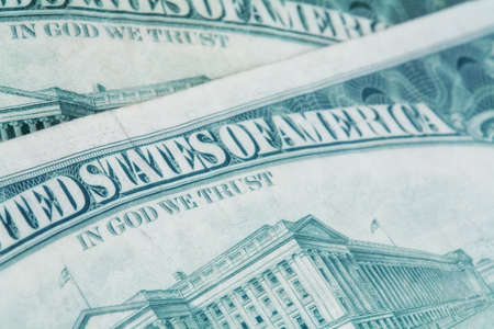 bank of america: US dollars background , artistic processed and toned photo with shallow DOF and space for your text Stock Photo