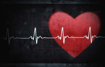 ecg heart: Grunge textured medical background with space for your text..