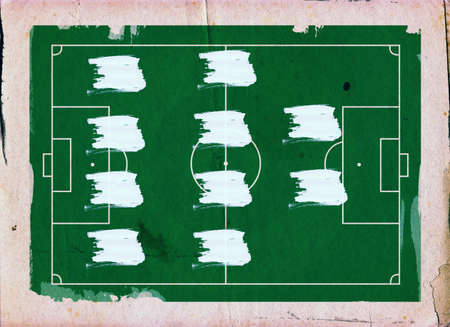 footie: Football (Soccer Field) illustration with 4-4-2 team formation and space for your text