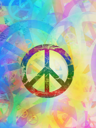 peace symbol: Computer designed highly detailed grunge abstract textured collage - Peace Background Stock Photo
