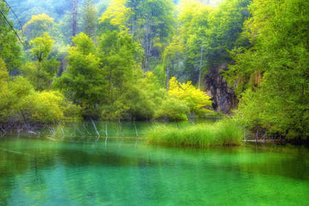 Landscape of a beautiful lake in spring time photo