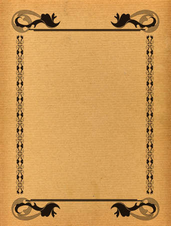 space for images: Antique paper with ornamental frame with space for your text or images Stock Photo