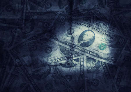 Grunge textured and retro style toned US dollars background