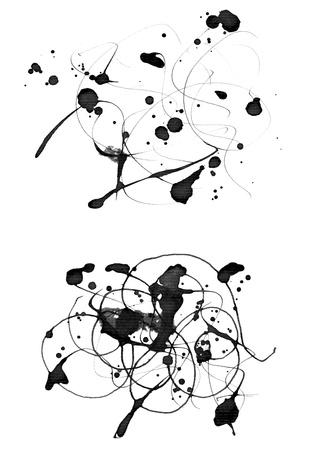 noise isolation: Set of  2 grunge textured  ink  design elements isolated on white Stock Photo