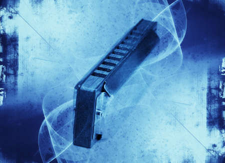 harmonica: Blues harmonica -  grunge abstract textured collage with space for your text Stock Photo