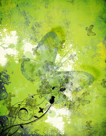green butterfly: Computer designed highly detailed grunge abstract textured floral collage  Stock Photo