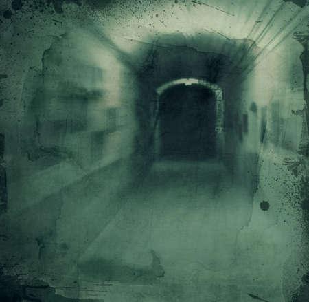 Grunge textured retro collage - Dark scarry hallway Фото со стока