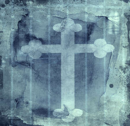 christian symbol: grunge textured spiritual  retro style l background - collage, with space for your text