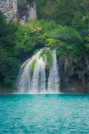 dream lake: Beautiful waterfall at Plitvice Lakes National Park Stock Photo