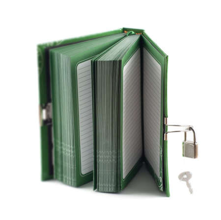 Diary with lock and chain on white background Banco de Imagens