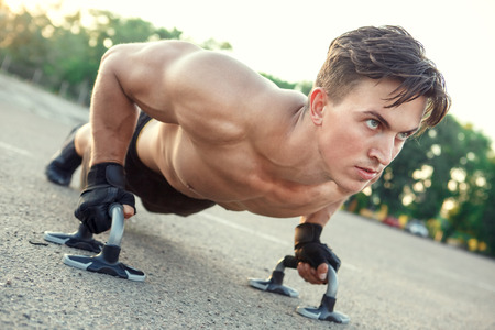 Young man exercise outdoors sport concept