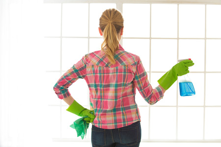 Woman doing home choirs housewife lifestyle concept Stock Photo