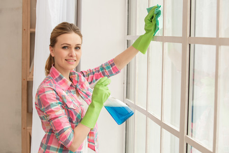 Woman doing home choirs housewife lifestyle concept Stockfoto