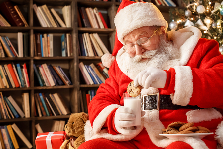 Santa Claus in the library christmas new year concept