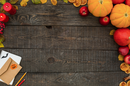 Halloween celebration holiday wooden table top view
