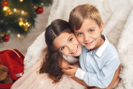 Little brother and sister family christmas concept Stock Photo